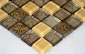 Fliesen Mosaik Mosaikfliesen Glas Glänzend Gold Beige Bad WC Küche ...