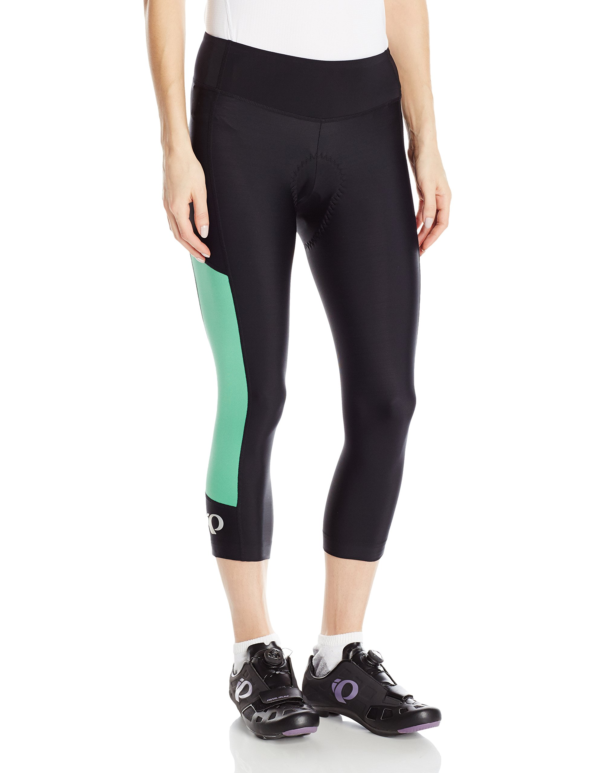 Pearl iZUMi Women's Escape Sugar CYC 3 Quarter Tights, Black/Green Spruce, X-Small