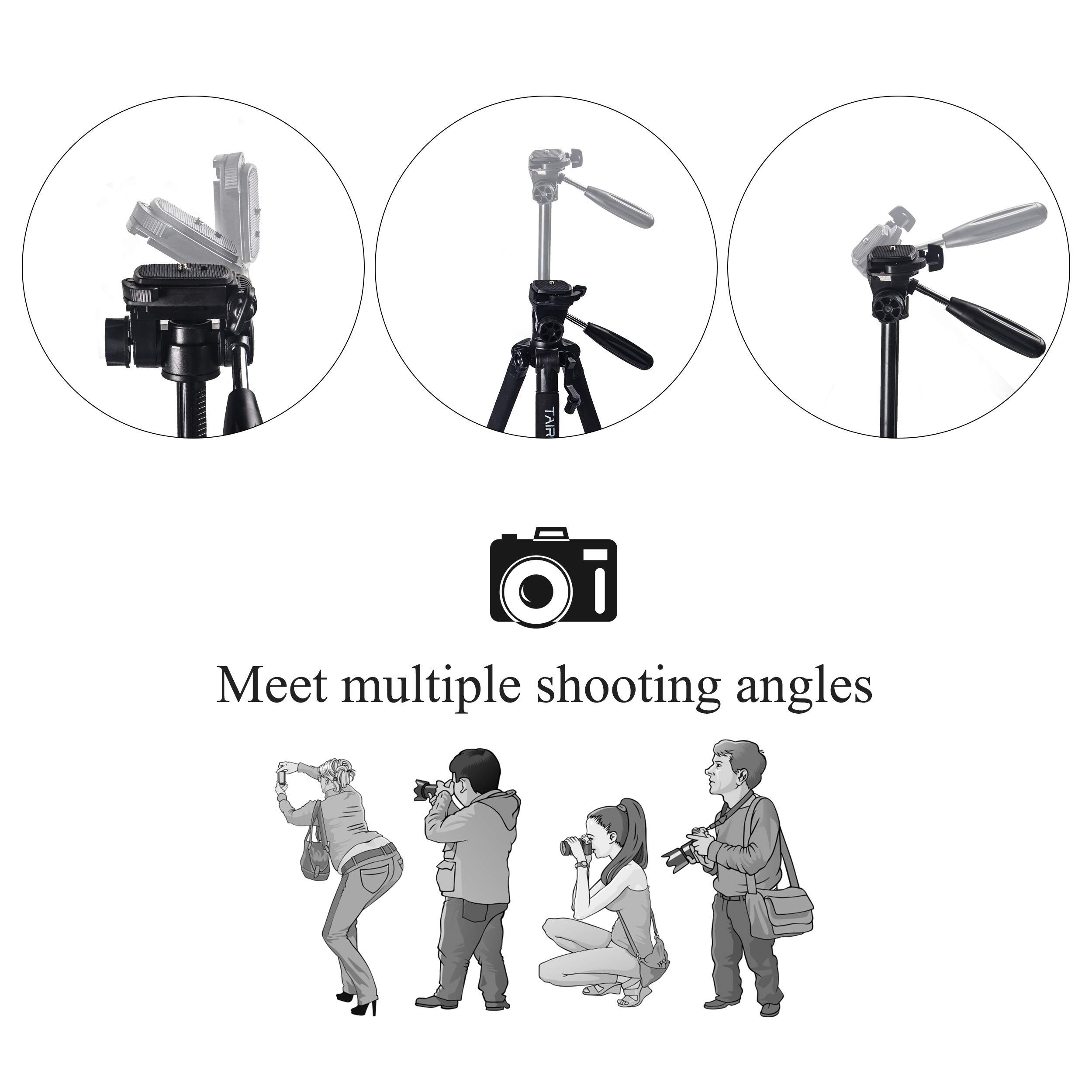 Treppiede leggero - Treppiede per macchina fotografica compatto Tairoad140 cm con clip per telefono cellulare e piastra a sgancio rapido per fotografia, spettacolo dal vivo - Nero