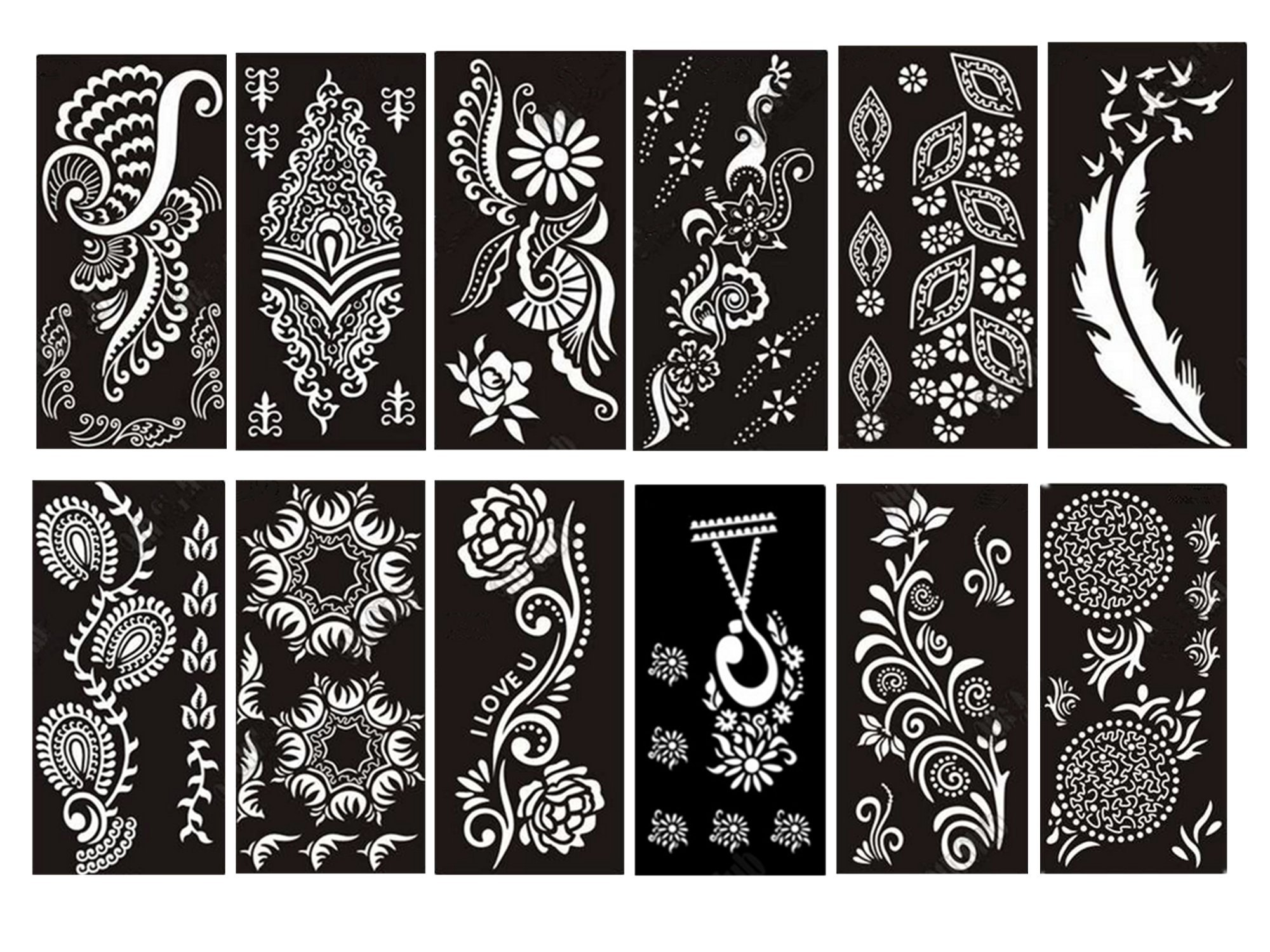 PACK of 12 Sheets Self-adhesive Henna Tattoo Stencils Template for Henna Tattoo Body Art Painting Glitter Tattoos Airbrush Tattoo by Outman