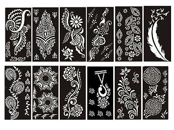 Amazon Com Pack Of 12 Sheets Self Adhesive Henna Tattoo Stencils