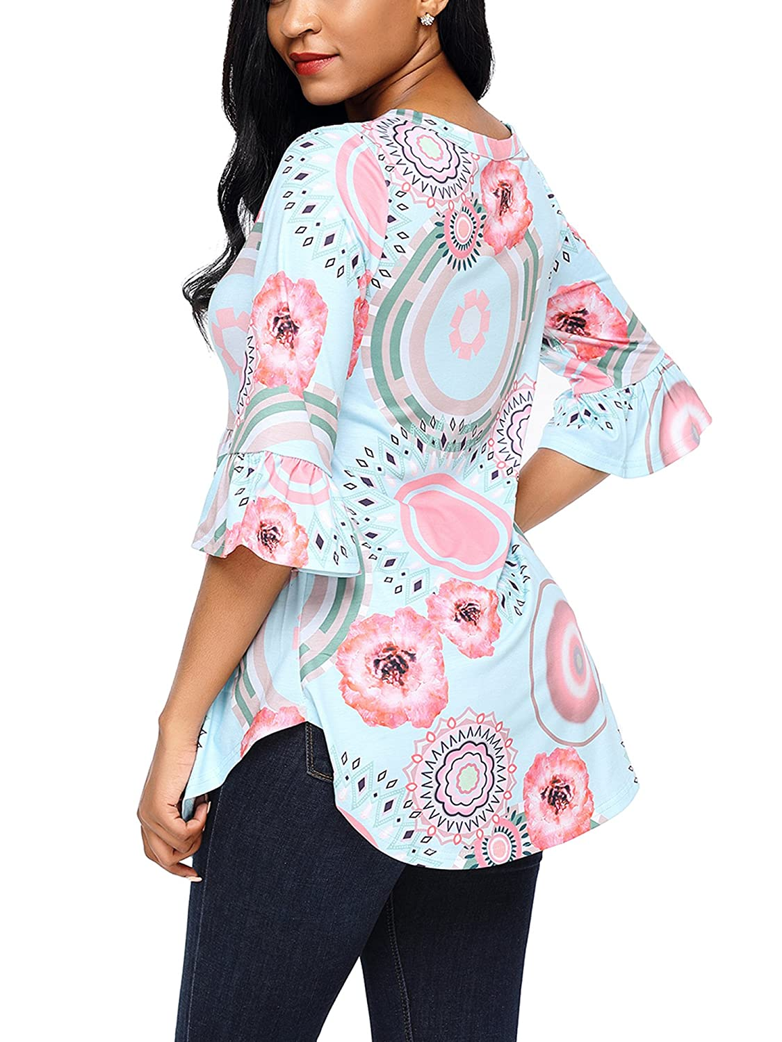 GOSOPIN Women Floral Print Casual Long Sleeve Tunic Crewneck Fall Tops Blouse