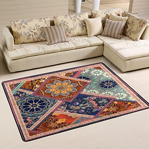 Amazon Com Alaza Non Slip Area Rug Home Decor Vintage Indian Moroccan Patchwork Durable Floor Mat Living Room Bedroom Carpets Doormats 36 X 24 Inches Kitchen Dining