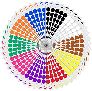 "3/4"" Round Color Coding Circle Dot Sticker Labels - 10 Assorted Colors, Pack of 2000"