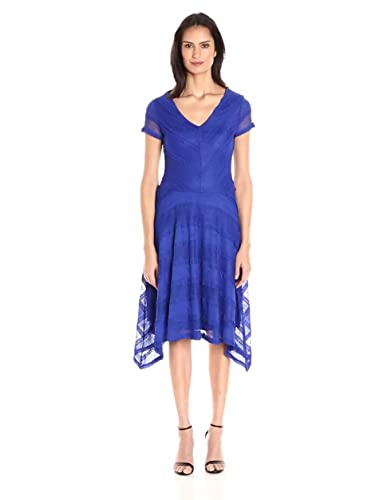 Sangria Womens Short Sleeve Lace Fit and Flare With Handkerchief Hem Dress at Amazon Womens Clothing store: