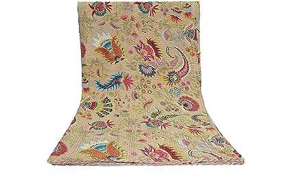 Amazon Com Multicolor Biege Mukut Print Queen Size Kantha Quilt
