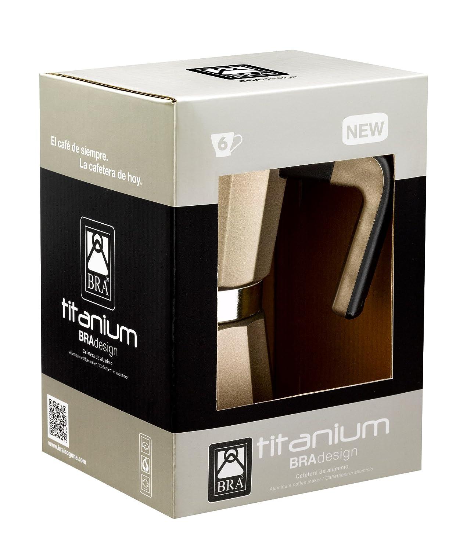 BRA Titanium - Cafetera, Capacidad 3 Tazas, Aluminio