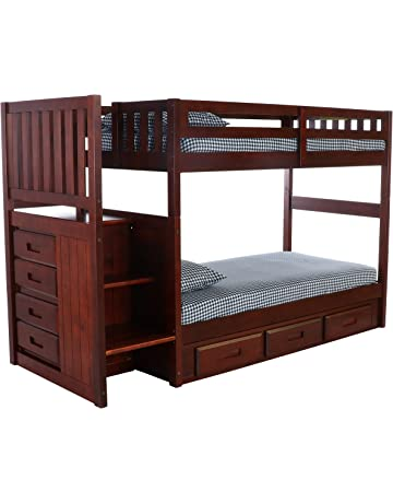 bbb6efaa5a1f Discovery World Furniture Mission Twin Over Twin Staircase Bed with 3  Drawer Storage