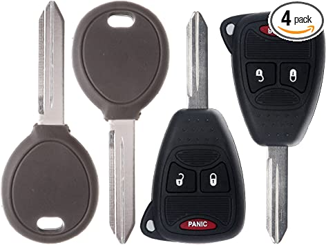 KOBDT04A OHT692713AA Scitoo 2 New Replacement Keyless Entry Remote Car Key Fob Combo 4-Button Uncut for Chrysler Dodge Jeep OHT692427AA