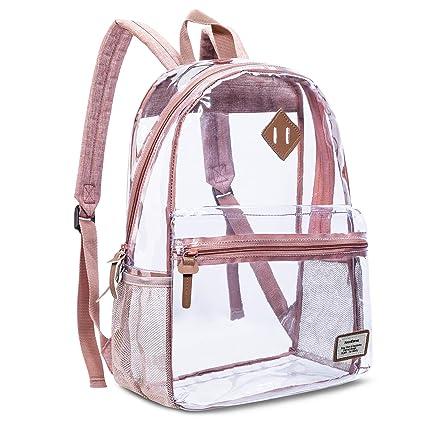 5b97059504ea Clear Backpack Transparent Casual Daypack Travel Lightweight Bookbag  See-Through Rucksack for Men/Women(Rose Gold)