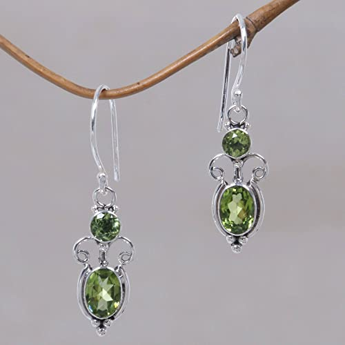 NOVICA Peridot and .925 Sterling Silver August Birthstone Dangle Earrings, Crown Princess 1.1cttw