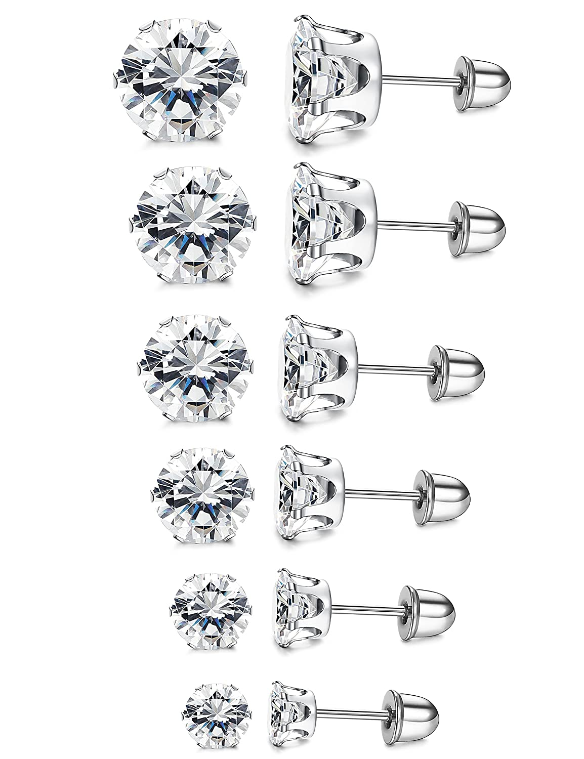 LOYALLOOK 6 Pairs Stainless Steel Clear Cubic Zirconia Stud Earring Ear Piercings for Women Girls 3-8mm TI121501