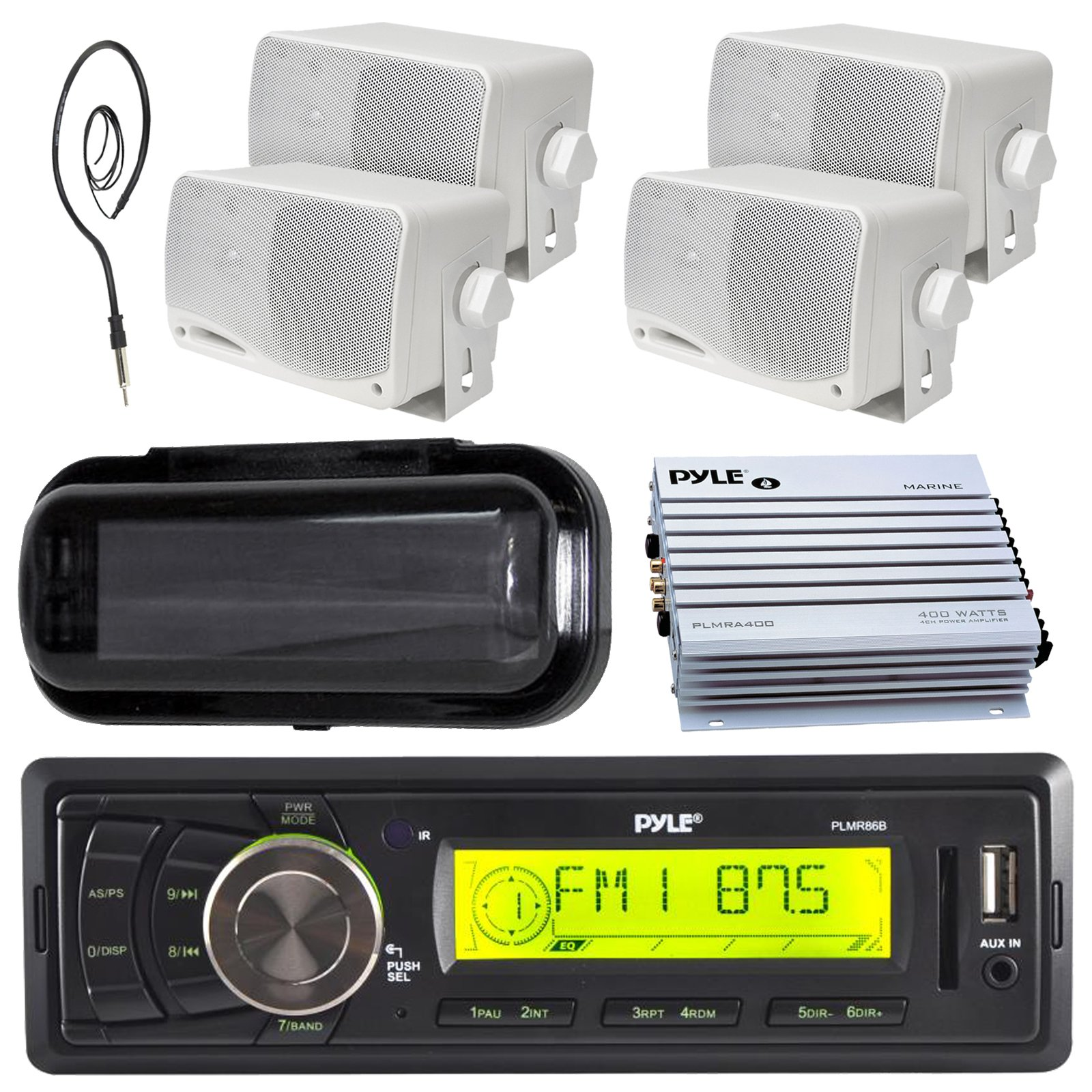 New Pyle Marine audio stereo player 200W indash Marine media AM/FM receiver 4- 3.5 box marine speakers, 400 watt waterproof amplifier, antenna with splash proof stereo cover (Black)