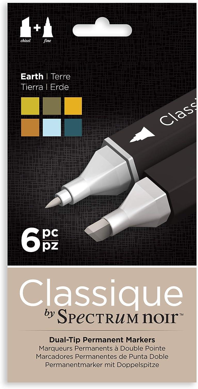 Spectrum Noir Classique Design Alcohol Marker Dual Nib Pens Set-Earth-Pack of 6