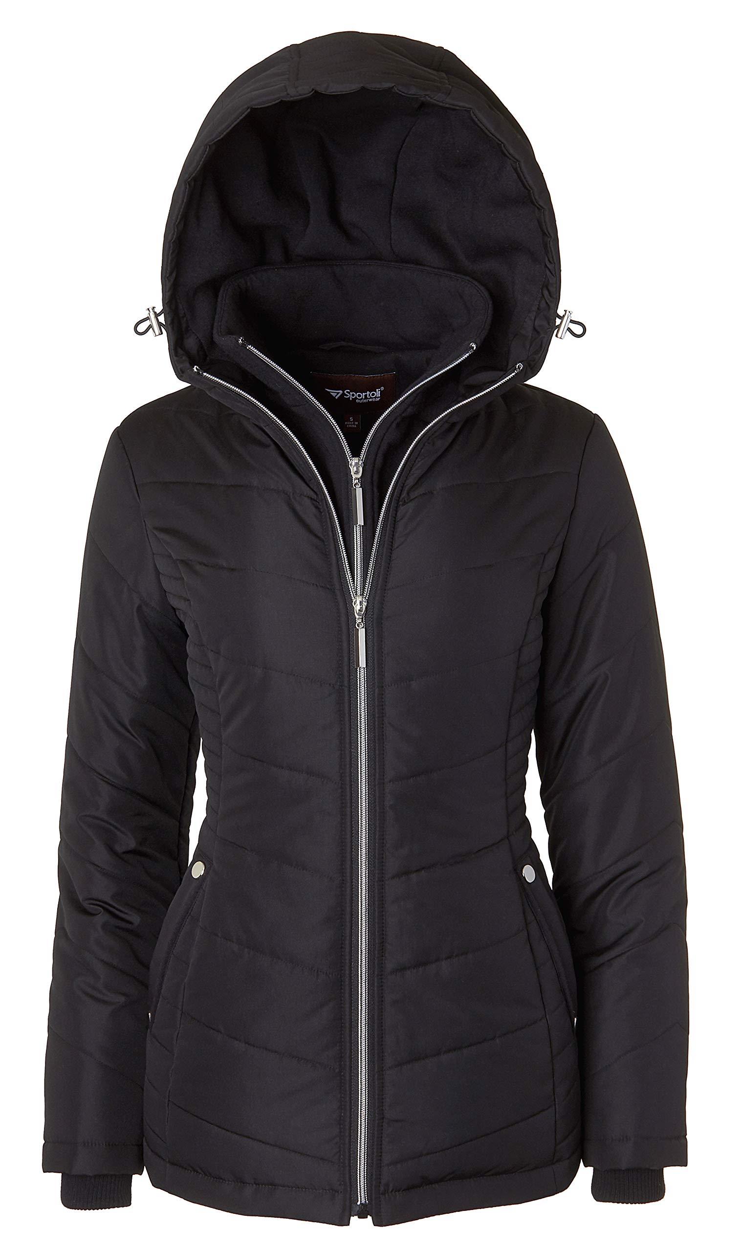 Women's Down Alternative Quilted Midlength Vestee Puffer Jacket with Fleece Hood - Black (Medium)