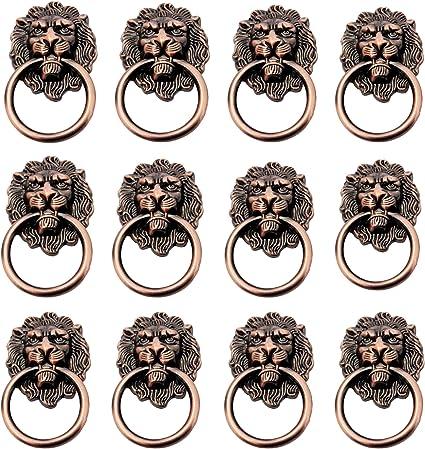 Cabeza Deleon Aldaba Tiradores con Tornillos Cabeza Leon Aldaba para Armario Pomo Puerta Joyero Anillo Caj/ón Perillas Cabeza Leon Tirador Puerta Armario 8 Piezas Manija Perilla Cabeza Le/ón