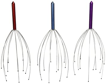 Hand Held Scalp Head Massager - Set of Three (Colors May Vary)