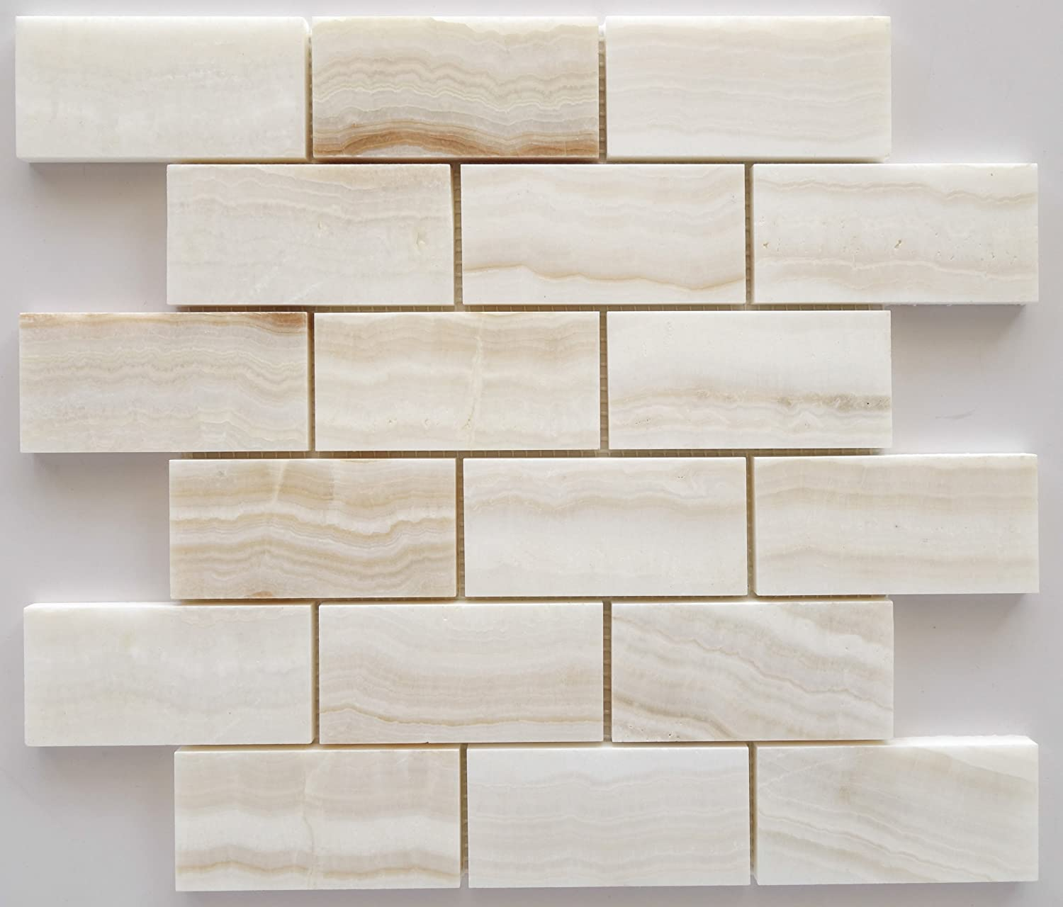 4x4 Sample of 2x4 White Onyx Subway Polished Tiles on 12x12 sheet ...