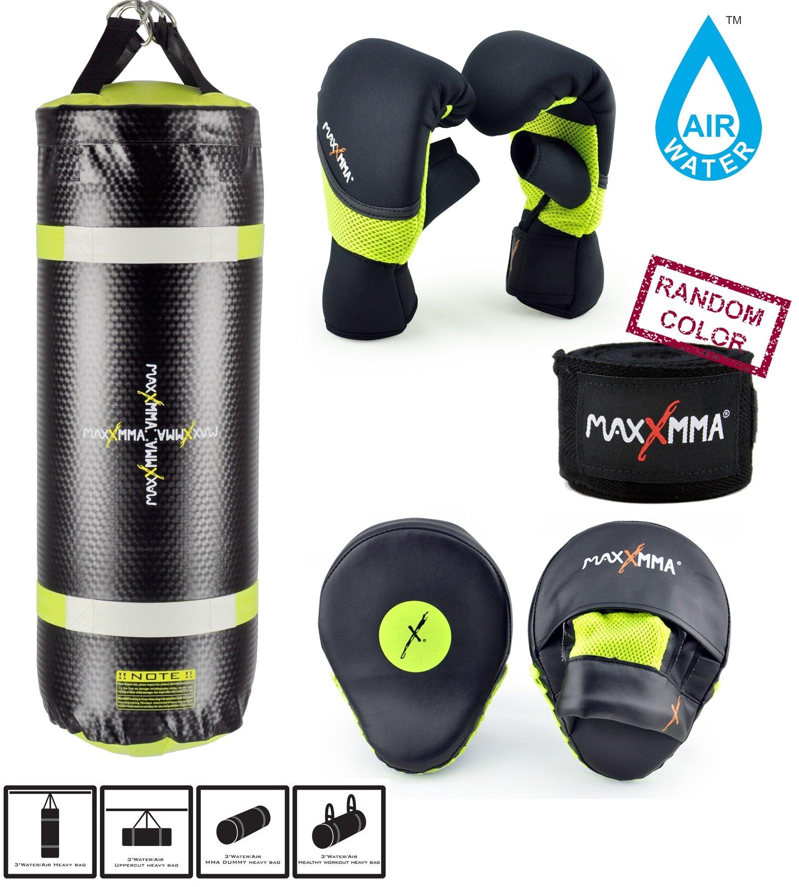 MaxxMMA Training & Fitness Heavy Bag + Neon Yellow Washable Heavy Bag Gloves L/XL & Punching Mitts + Bamboo Hand Wrap