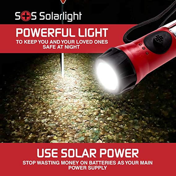 SOS Solarlight Solar Flashlight with compass and dual battery back up  system Great for Emergency Power Outages Camping Hiking Walking the Dog Bug  out