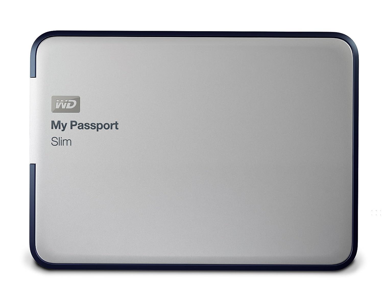 WD My Passport Slim 1TB Portable External Hard Drive (Metal Silver)