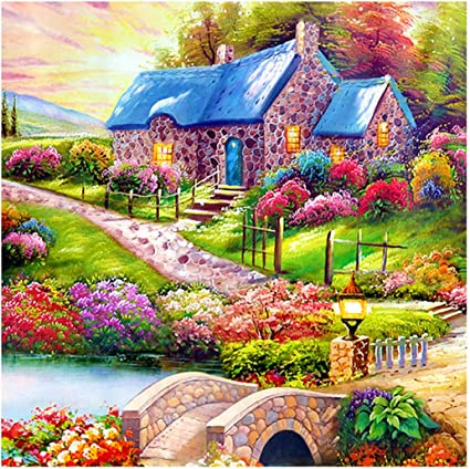 MXJSUA 5D DIY Diamond Painting Kit by Number Full Drill Round Beads Crystal Rhinestone Embroidery Cross Stitch Picture Supplies Arts Craft Wall Sticker Decor 12x12In Flower House