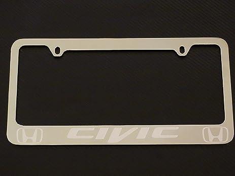 Amazon.com: Honda civic license plate frame, chrome metal, Brushed ...
