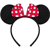 Balinco Haarreifen in schwarz mit Maus Ohren Mouse mit Schleife in rot mit weißen Punkten für Kinder & Erwachsene