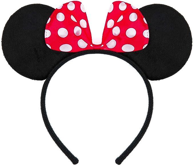 Diadema para fiesta de Minnie Mouse con lazo en rojo con lunares blancos.