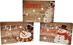 SeasonsEasy LED Lighted Snowman Wooden Block Plaques with Auto Timer, Set of 3 Christmas Decor Wall Signs or Tabletop Decorations Battery-Operated Light-Up (Winter Welcome)