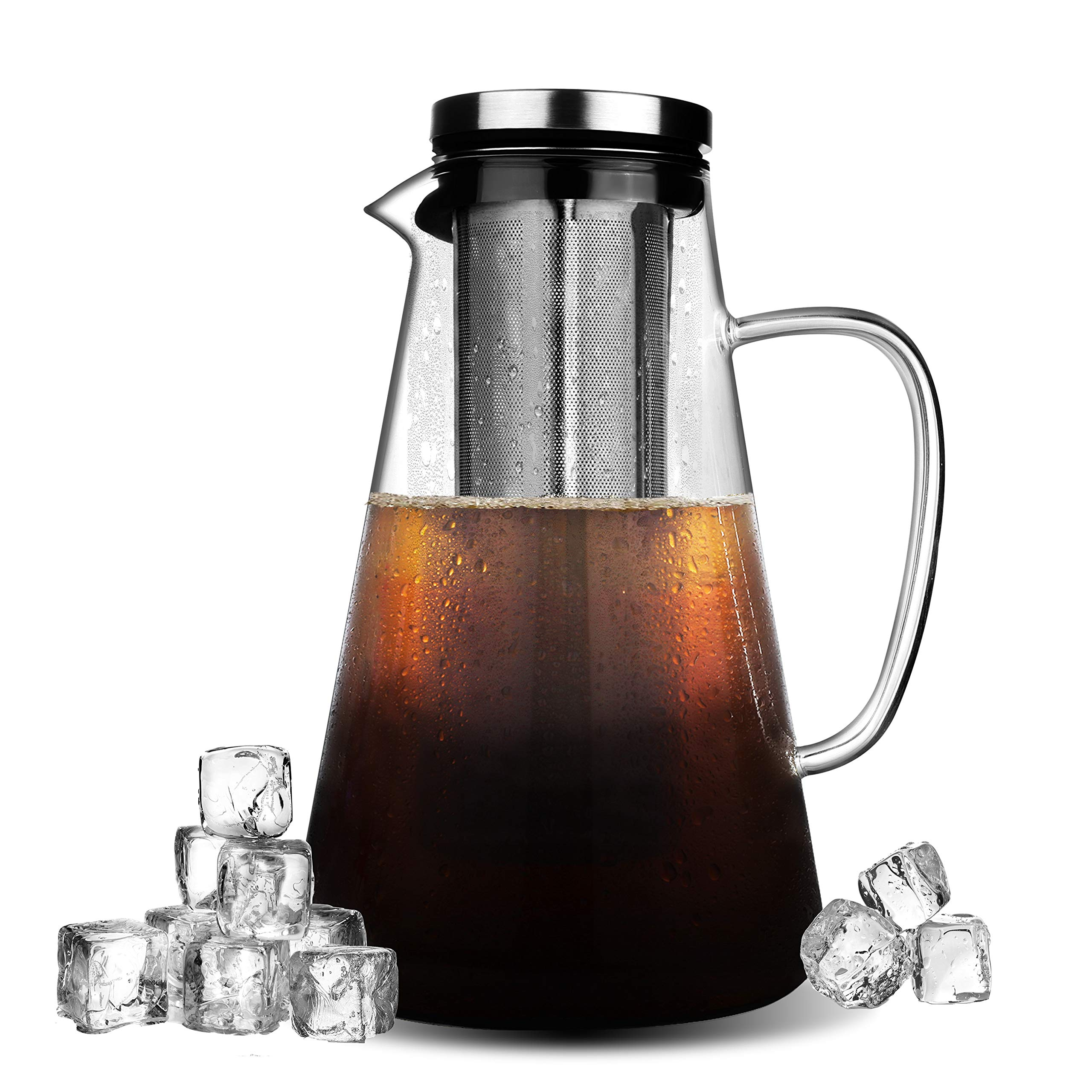 Phyismor Cold Brew Iced Coffee Maker - 1.5L/50oz - Handmade Manual Iced Coffee Tea Maker Pitcher Infuser - Borosilicate Glass Carafe - with Fine Mesh, Removable Stainless Steel Filter by Phyismor