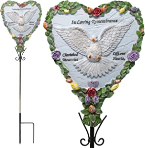 Memorial Dove Garden Stake - Heart Shaped Poly Stone Sympathy Dove and Floral Design - In Loving Remembrance - Cherished Memories that Lift our Heart Saying Poem - Hand Painted Details