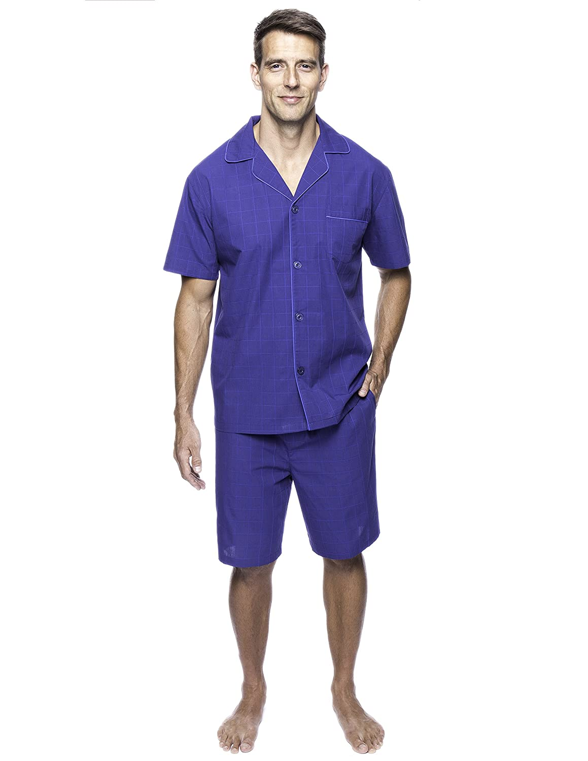 Noble Mount Twin Boat Men's 100% Woven Cotton Short Pajama Sleepwear Set