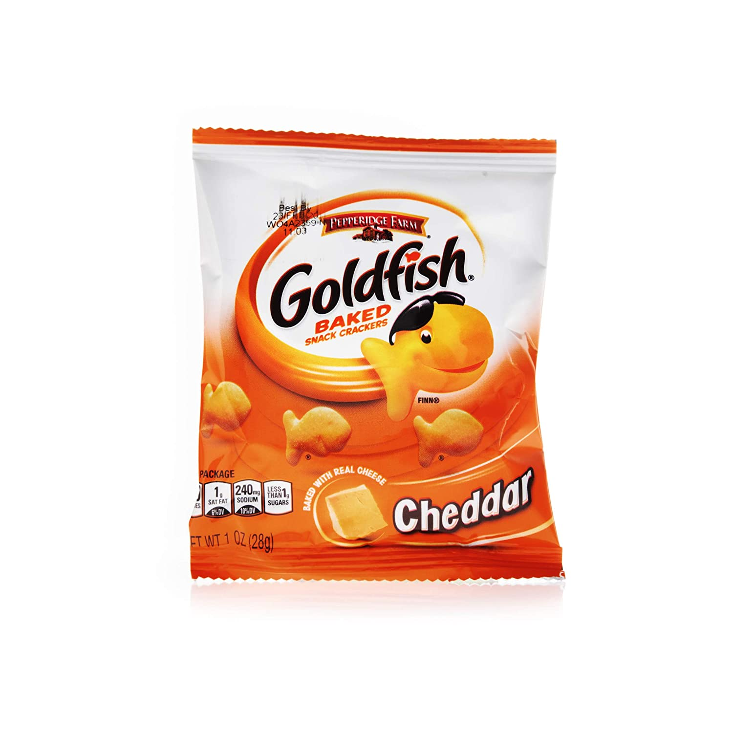 Pepperidge Farm Goldfish Baked Snack Crackers, Cheddar Cheese, 1 Ounce, Pack of 60