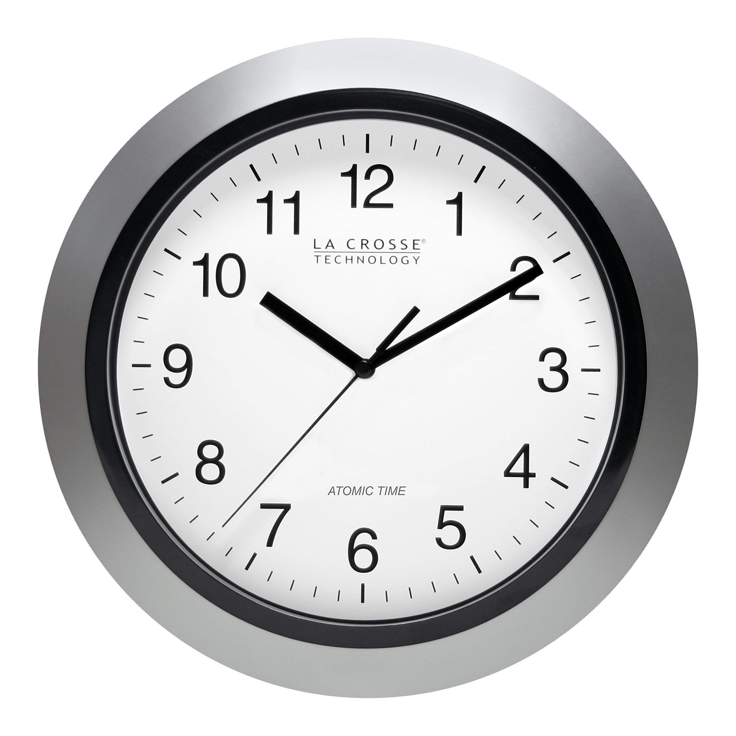 La Crosse Technology WT-3102S 10 Inch Silver Atomic Analog Wall Clock