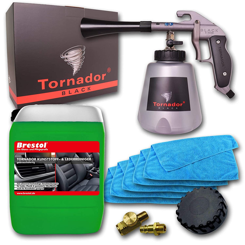 Brestol + Bendel Tornador Black Z-020S Kit de Nettoyage en Cuir synthé tique pour Tableau de Bord de Voiture 5 l + 5 Chiffons en Microfibres
