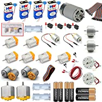 vyga 12V 7000-14000 RPM DC Motor Kit with 6-Pieces Small Electronic and Cylindrical, 2-Piece6-9 V and 2-Piece 3-9V Dual Shaft Toy DC Motor