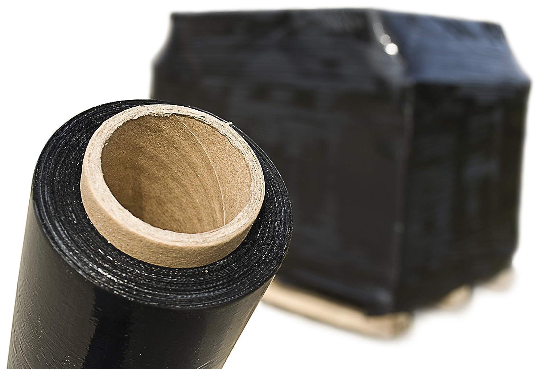 3x Rolle Profi Stretchfolie extra rei/ßfest und extrem dehnbar im Set jeweils 50 cm x 300 m aus LDPE schwarze Handstretchfolie Wickelfolie Verpackungsfolie Schwarz Palettenfolie 17 my, 3 Rollen