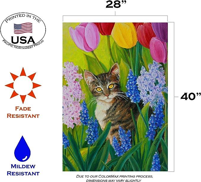 Amazon Com Toland Home Garden 109562 Tomcat Tulips 28 X 40 Inch Decorative House Flag 28 X 40 Outdoor Flags Garden Outdoor
