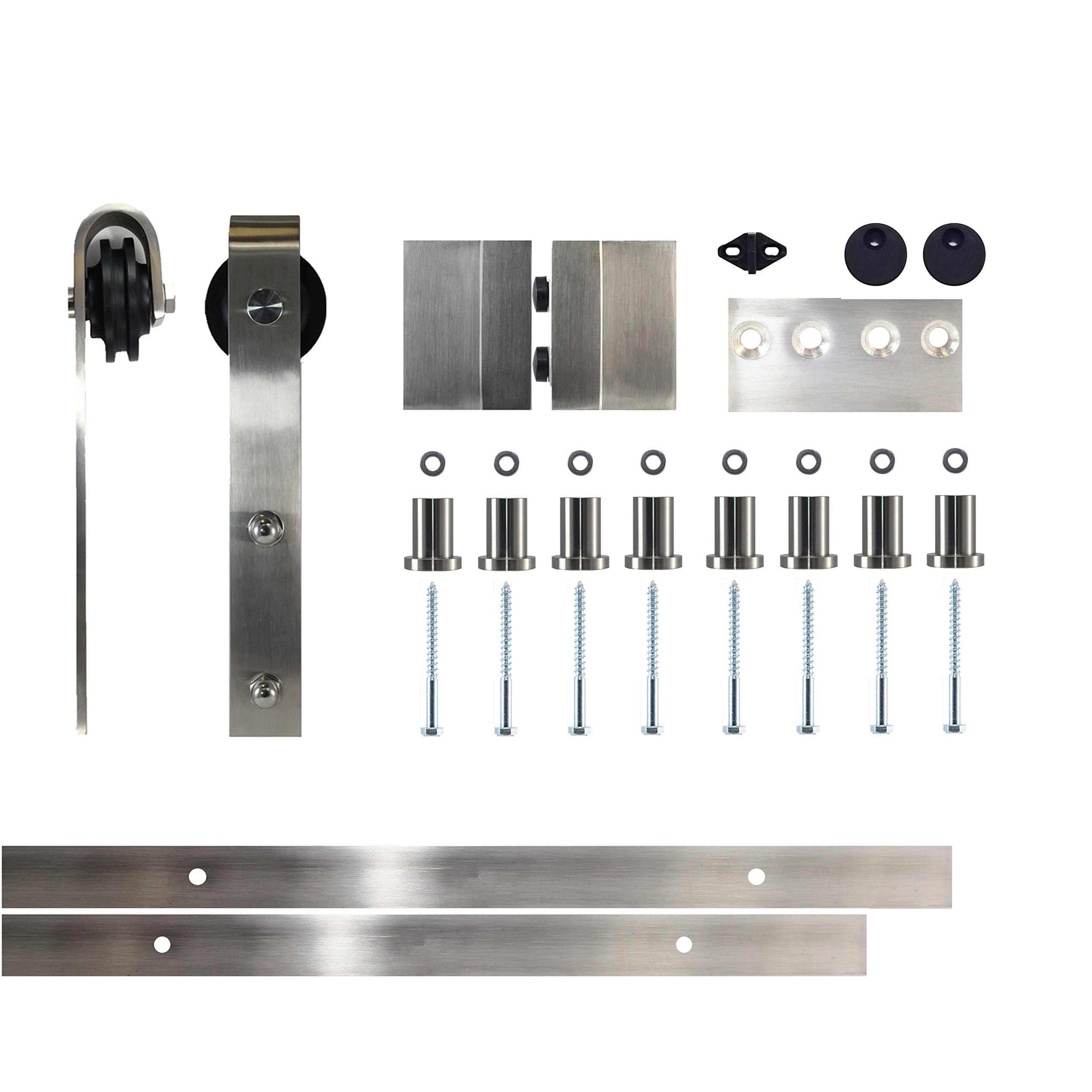 Vancleef 10FT Single Door Kit Sliding Barn Door Hardware, Classic Design, Stainless Steel, Industrial Strength, Interior and Exterior Use, With Quiet Glide Roller and Descriptive Installation Manual