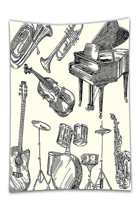 interestlee satinado (mantel? Jazz música Decor colección de instrumentos musicales estilo Art de dibujo
