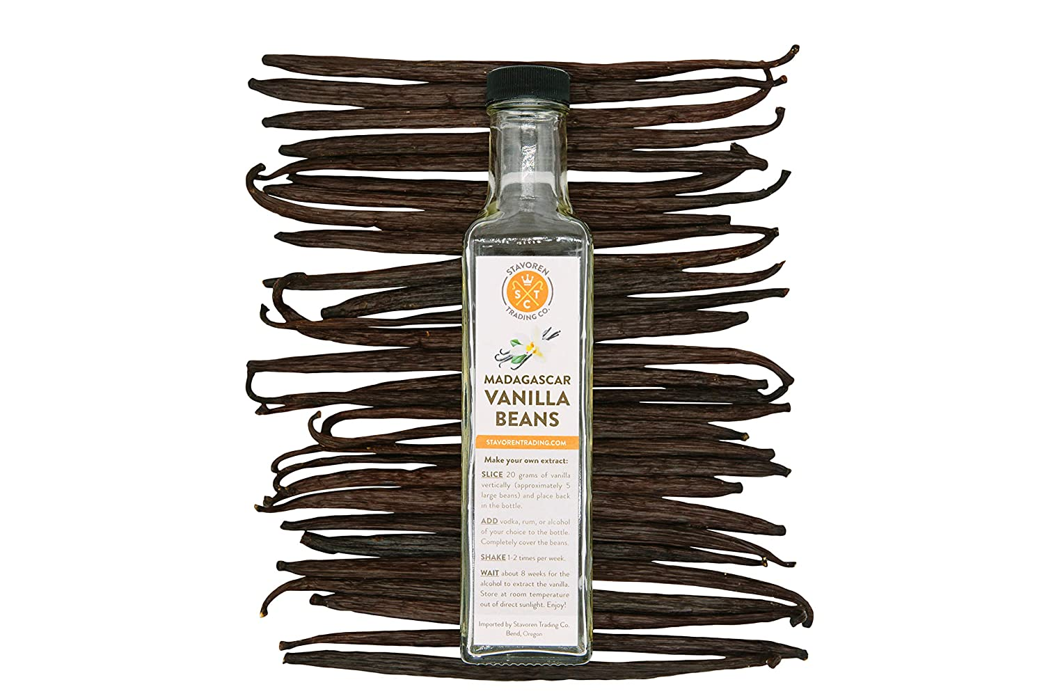 Stavoren Trading Co. 6 Lg Madagascar Bourbon Vanilla Beans for Pure Vanilla Extract, Instructions, Glass Bottle & Stopper Included, Beans are 5-6 inches long and are sealed & protected. Makes 8 oz (6)