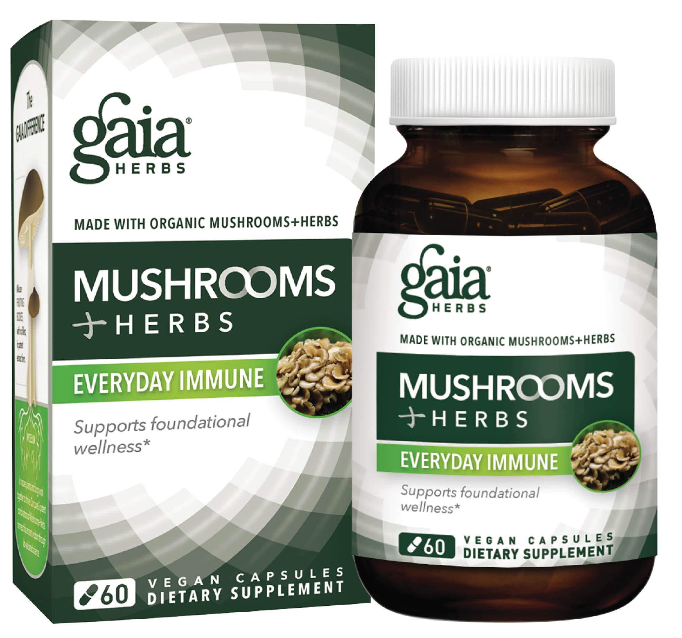 Gaia Herbs Mushrooms + Herbs Everyday Immune, Vegan Liquid Capsules, 60 Count - Whole Body Immune and Daily Wellness Formula, Organic Reishi, Cordyceps, Turmeric (Curcumins), Astragalus