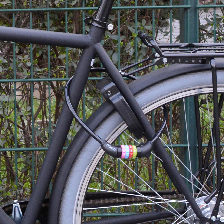 con c/ódigo de combinaci/ón de n/úmeros nean Candado de bicicleta infantil 10 x 650 mm multicolor