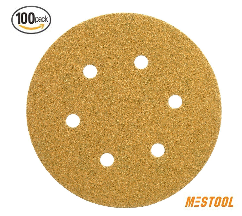 Mestool 66-AP 6-Inch 6-Hole Assortment Dustless Hook & loop Discs 20 Each of 5 Grits , Gold, Pack of 100
