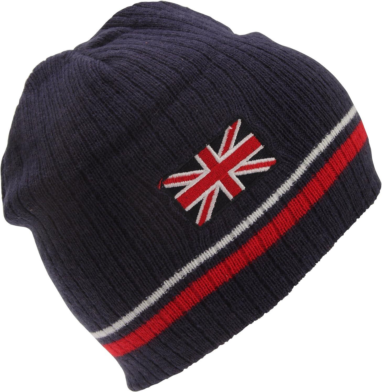 Childrens//Kids Union Jack Design Winter Beanie Hat