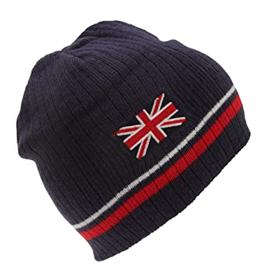 42de3df41cf Childrens Kids Union Jack Design Winter Beanie Hat (One Size) (Navy ...
