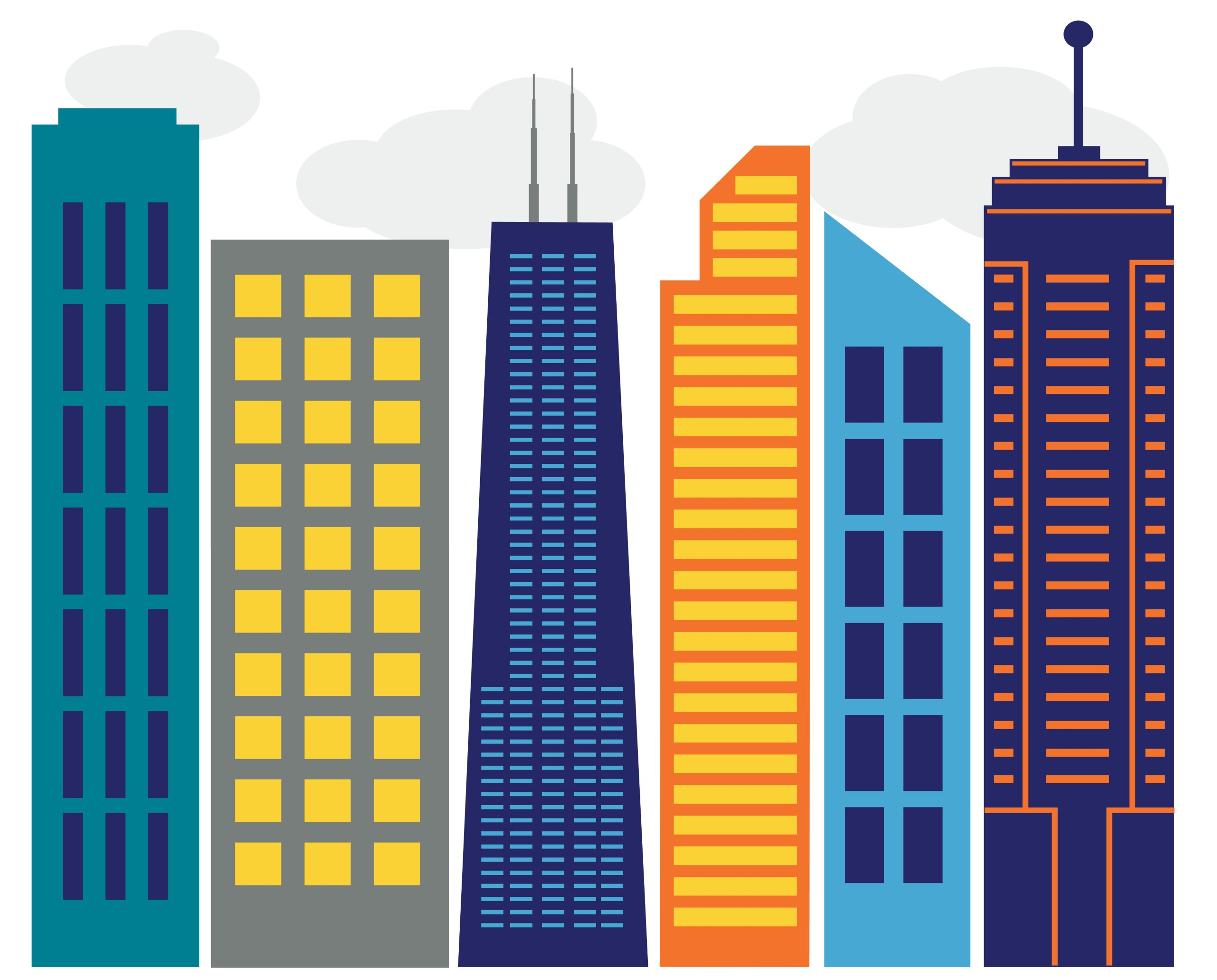 Small Bold City Skyline - Vinyl Wall Art Decal for Homes, Offices, Kids Rooms, Nurseries, Schools, High Schools, Colleges, Universities