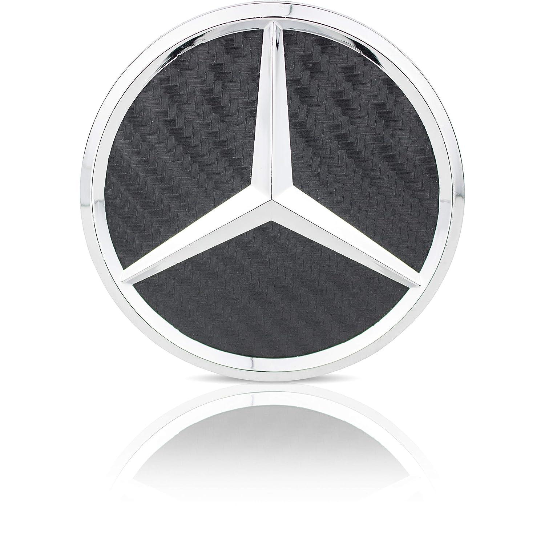 UG 4x Tappi Coprimozzo Logo Mercedes Benz Nero Fibra di Carbonio da 75mm CLASSE A B C E CLK GL M ML SLK per Borchie Cerchi Lega