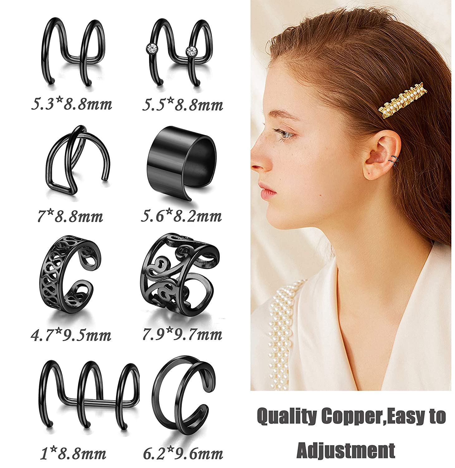 JOERICA Silver Wrap Ear Cuff Earrings Set for Women Girls Clip on Fake Nose Lip Tragus Helix Ring Non-piercing Body Jewelry 8 Pairs JOES37-8PG